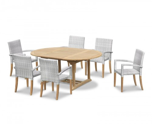 Grey Marble 6-Seater Rattan Stacking Dining Set