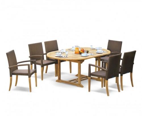 Java Brown 6-Seater Rattan Stacking Dining Set