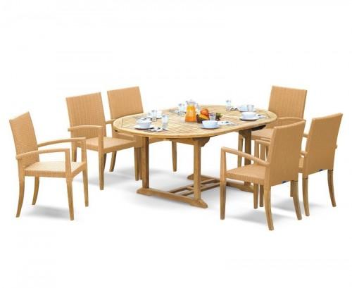 Honey Wicker 6-Seater Rattan Stacking Dining Set