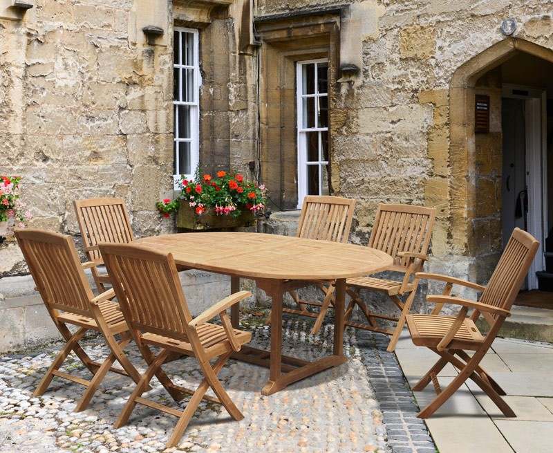 Brompton Teak Oval Extendable Table And Folding Chairs Lindsey Teak - Teak oval extension dining table