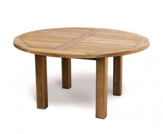 Titan Teak 6 Seater Round Patio Table And Reclining Chairs