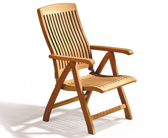 Titan teak 6 seater round patio table and reclining chairs set lindsey teak - Round teak table and chairs ...