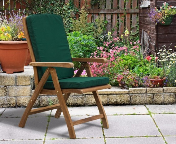 Titan Teak 6 Seater Round Patio Table and Reclining Chairs Set ...