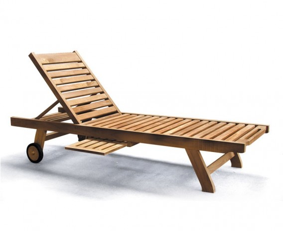 teak wooden garden sun lounger with free cushion lindsey. Black Bedroom Furniture Sets. Home Design Ideas