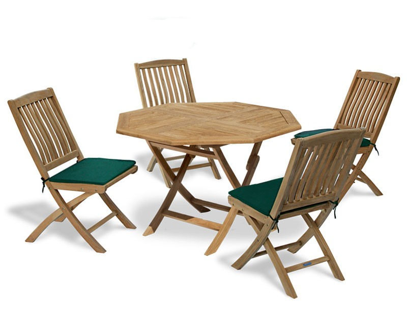 Suffolk Octagonal Folding Garden Table And 4 Bali Chairs