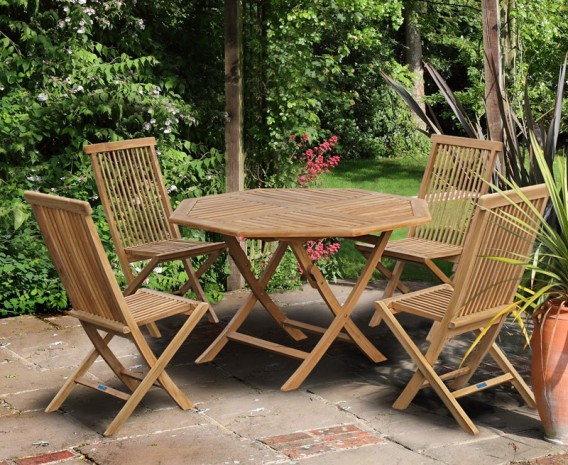 Suffolk Octagonal Folding Garden Table And Chair Set Outdoor Patio Teak Dining Set Lindsey Teak