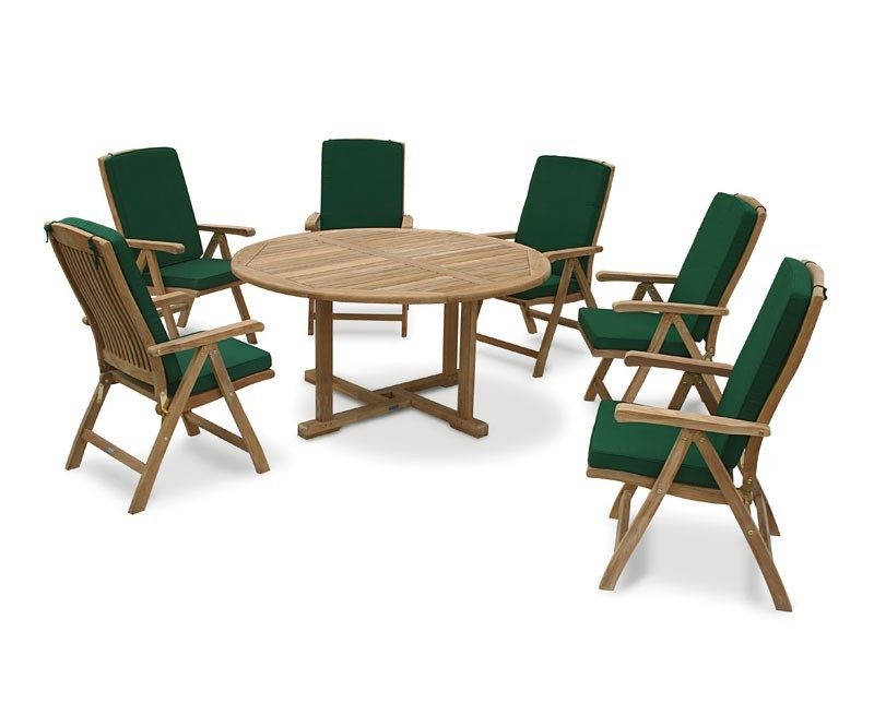 Round Teak Table And 6 Reclining Chairs Set  ...
