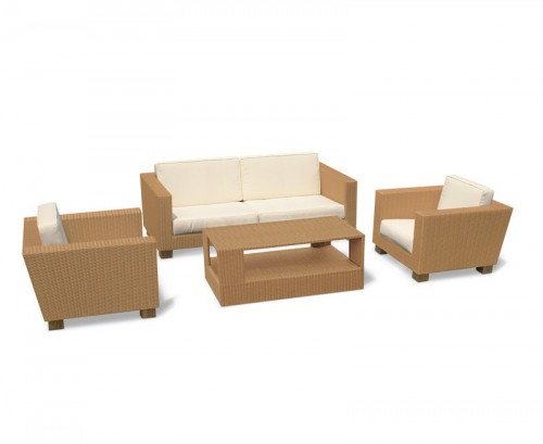 Honey Wicker Sorrento 4-Piece Rattan Sofa Set