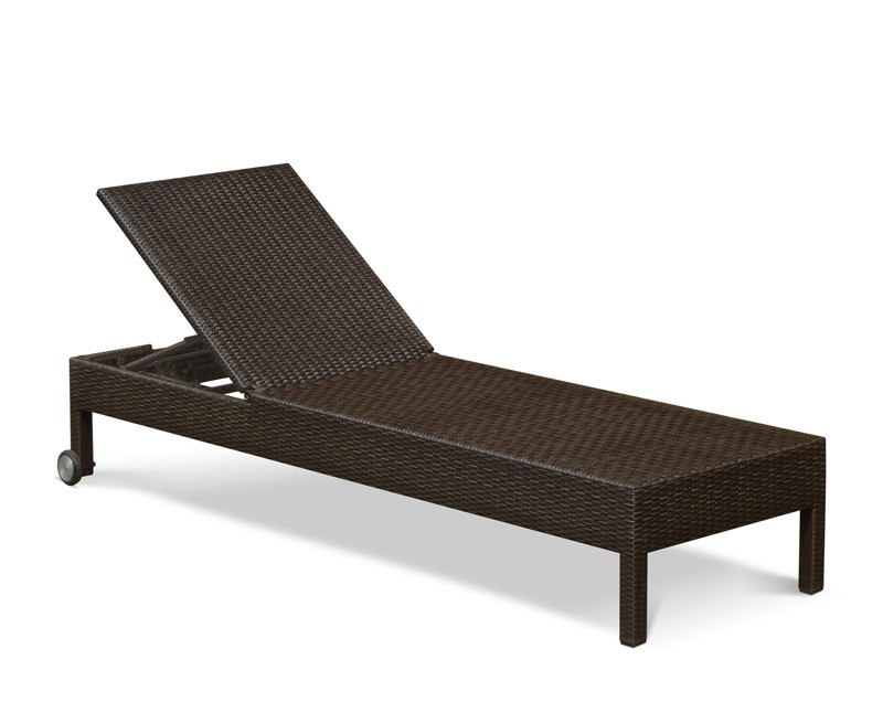 Rio Reclining Rattan Sun Lounger With Wheels Lindsey Teak